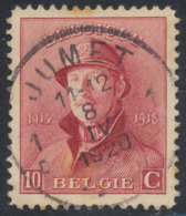 "Roi Casqué - N°168 Obl Simple Cercle ""Jumet"" - 1919-1920 Roi Casqué"