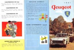 """08733 """"PEUGEOT 1961"""" PIEGHEVOLE PUBBL. ORIG. IN LINGUA ITALIANA - Pubblicitari"""