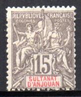 Col17  Colonie Anjouan N° 15 Neuf X MH Cote 30,00€ - Neufs