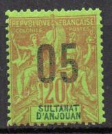 Col17  Colonie Anjouan N° 23 Neuf X MH Cote 1,80€ - Anjouan (1892-1912)