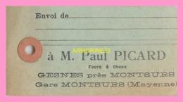 TICKET DE TRANSPORT DE BAGAGES àM Paul PICARD  GESNES Près De  MONTSURS  - Mayenne - Otros