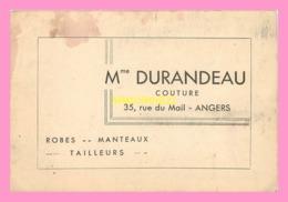 CARTE DE VISITE Mme DURANDEAU  Courure  à ANGERS - Visiting Cards