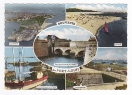 56 Port Louis En 5 Vues Bateau Pêche Thonier Au Quai Porte Rouge Plage Citadelle - Port Louis