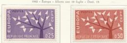 PIA - FRANCIA - 1962  : Europa  -  (Yv 1358-59) - 1962