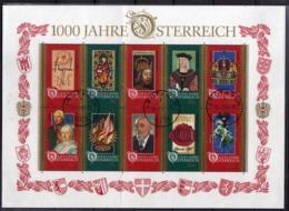 AUSTRIA ÖSTERREICH 1996 MILLENIUM MILLENARIO MILLENARY BLOCK SHEET BLOCCO FOGLIETTO BLOC FEUILLET USED USATO OBLITERE' - Blocks & Kleinbögen