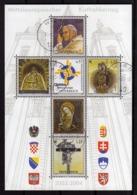 AUSTRIA ÖSTERREICH 2004 POPE PAPA CATHOLIC DAY MARIAZELL BLOCK SHEET BLOCCO FOGLIETTO BLOC FEUILLET USED USATO OBLITERE' - Blocks & Kleinbögen