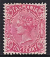 Tasmania 1878 1d Rose-carmine P14 Wmk TAS MH  SG 156a - Neufs