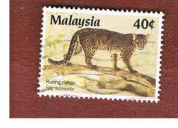 MALESIA (MALAYSIA)  -  SG 385   -   1987 PROTECTED ANIMALS: MARBLED CAT    -  USED ° - Malesia (1964-...)