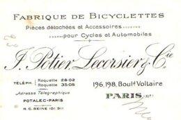 POTIER & LECORSIER  Fabrique De Bicyclettes, Accessoires Cycles Et Automobiles    PARIS - Cambiali