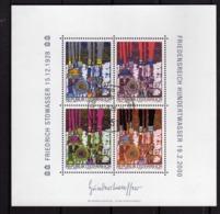 AUSTRIA ÖSTERREICH 2000 HUNDERTWASSER DEATH COMMEMORATION BLOCK SHEET BLOCCO FOGLIETTO BLOC FEUILLET USED USATO OBLITERE - Blocks & Kleinbögen