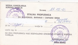 WAR IN CROATIA  1992  --  STALNA PROPUSNICA ZA SLAVONIJU, BARANJU I ZAPADNI SREM  --  PERMIT PASS, LAISSEZ - PASSER - Militaria