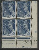 """N° 414 A** (MNH). Cote 24 €. Coin Daté Du 5/5/39 / Bloc De Quatre """"Mercure"""". - Ecken (Datum)"""