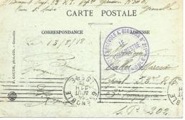 38-cachet Hôpital Bénévole A. Girodon N°211 Bis -Grenoble Sur CP De 1918 - Postmark Collection (Covers)