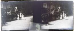 """Région De NANTES Vers 1900 : A Situer, Attelage, Panneau """" Le Chat """". Plaque Verre Stéréoscopique, Négatif. - Glass Slides"""