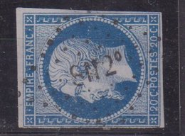 """FRANCE : N° 14 . OBL AMBULANT . """" SN2° """" . TB . ( CATALOGUE MATHIEU ) . - Marcophily (detached Stamps)"""