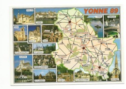 89-Carte Contour Géographique Du Département De  YONNE - Landkarten