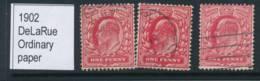 GB, 1902 1d Scarlet, Bright Scar, Rose-carmie, DeLaRue - 1902-1951 (Re)