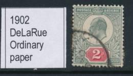 GB, 1902 2d Yellowish Green & Red, DeLaRue Ordinary Paper, SG225, Cat £32 - 1902-1951 (Re)