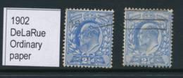 GB, 1902 2½d Deep Ultramarine, Ultramarine, DeLaRue, SG230231, Cat £30 - 1902-1951 (Re)