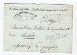 Fragment De Lettre - Port Payé D'ANGERS Pour Fontenay Le Comte - Texte Sur Les Chouans Du Commissaire Central - Marcophilie (Lettres)