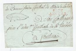 Fragment De Lettre -  Marque Rouge  En Port Payé  D' Angers  Pour Fontenay Le Comte - Marcophilie (Lettres)