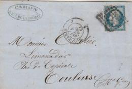 France Yvert 14 4 Belles Marges Lettre  Paris Losange J 4/12/1861 Pour Toulouse - Storia Postale