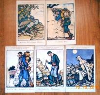 LOT 5 CPA Societe Française De Secours Aux BLESSES MILITAIRES.CROIX ROUGE.Militaria, 1915.Dessin Georges Bruyer.Guerre 1 - Guerre 1914-18