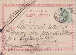 """ROUMANIE : TIMBRE PERFORE . S Et C . SUR CP . DE """" BUCAREST """" . POUR PARIS . 1898 - 1881-1918: Charles I"""