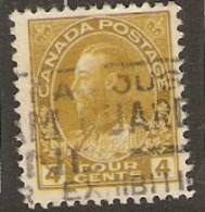 Canada  1922    SG 249a  4c Olive Yellow  Fine Used - Gebruikt