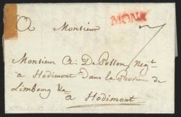 """L 1792 Marque MONS Rge + """"7"""" Pour Hodimont - 1714-1794 (Austrian Netherlands)"""