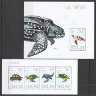 TG638 2013 TOGO TOGOLAISE FAUNA REPTILES MARINE LIFE SEA TURTLES LES TORTUES KB+BL MNH - Tortugas