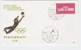 Germany Cover 1972 München Olympic Games - Ulm, Donau Handball  (G103-29) - Summer 1972: Munich