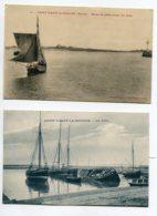 50 ST SAINT VAAST La HOUGUE 2 Cartes Barque Peche Sortie Jetée 1913 Et La Cale Voiliers Peche Et Carcasses    D16  2019 - Saint Vaast La Hougue