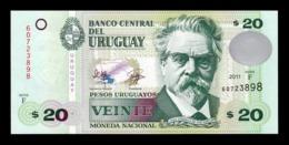 Uruguay 20 Pesos Uruguayos De La Rue 2011 Pick 86b SC UNC - Uruguay