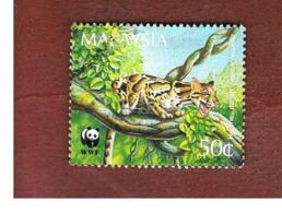 MALESIA (MALAYSIA)  -  SG 565  -   1995  WWF ENDANGERED ANIMALS:V   CLOUDED LEOPARD   -  USED ° - Malesia (1964-...)