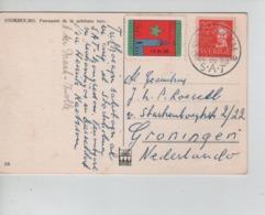 PR7425/ PC Sweden Written Esperanto C.Stockholm 1951 + Cinderella Label Esperanto Stockholmo SAT > Groningen NL - Esperanto