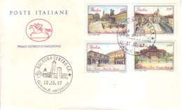 Italia 1987 - FDC Piazze D'Italia (Ascoli, Palermo, Torino, Verona) - FDC