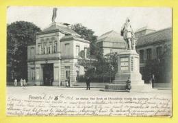 * Antwerpen - Anvers - Antwerp * La Statue Van Dyck Et L'academie Royale De Peinture, Monument, Animée, Rare, Old - Antwerpen