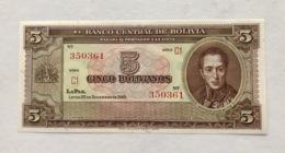 BOLIVIA P138D 5 BOLIVIANOS 1952 UNC - Bolivia