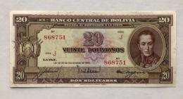 BOLIVIA P140 20 BOLIVIANOS 1945 UNC - Bolivien
