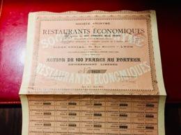 S.A.  De  RESTAURANTS  ÉCONOMIQUES  -------Action  De  100 Frs - Shareholdings