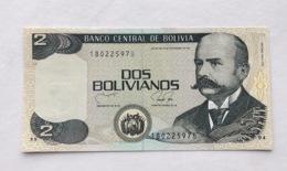 BOLIVIA P202B 2 BOLIVIANOS 1990 UNC - Bolivia
