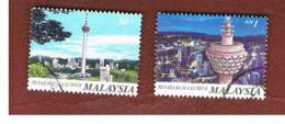MALESIA (MALAYSIA)  -  SG 616.618  -   1996 KUALA LUMPUR TOWER  -  USED ° - Malesia (1964-...)
