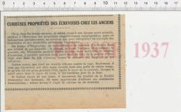Presse 1937 Médecine Bouillon D'écrevisses Crustacé écrevisse Maladie Phtisie Lèpre Asthme Dysenterie Gravelle 226MC - Documentos Antiguos