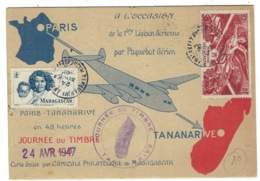 ⭐ Madagascar - Première Liaison Aérienne Par Paquebot Aérien - Paris Tananarive En Recommandé - 1947 ⭐ - Luftpost