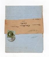 !!! PRIX FIXE : 1C CERES BORD DE FEUILLE, FILET BAS COURT, SUR BANDE DE JOURNAL DE 1871 - Storia Postale