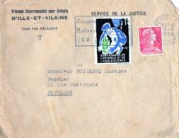 ENVELOPPE - Tribunal Pour Enfants D' Ille Et Vilaine - Timbre Sauvegarde De L' Enfance Et De L' Adolescence - 1956 - Storia Postale