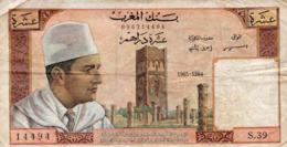 Maroc Dix Dirhams 1965 Circulé Plis - Marokko