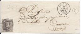 N°10A S/ Let. Oblit P167. Néchin Dble Cercle  15.9.1859-boite De Levée Q . Vers Courtray - Très Rare - Postmark Collection