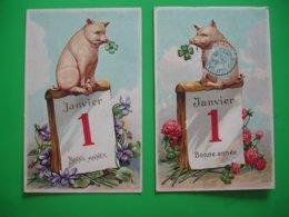 Lot 2 Carte Fantaisie Gaufree Cochon Cochons Bonne Annee - Fantasie